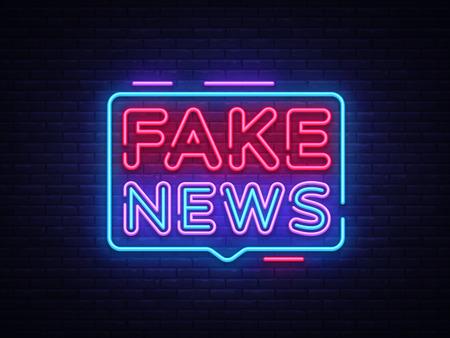 Fake News insegna al neon vettore. Insegna al neon del modello di progettazione di ultime notizie, insegna luminosa, insegna al neon, pubblicità luminosa notturna, iscrizione leggera Illustrazione vettoriale