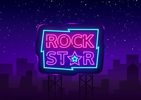 Rock Star Neon Sign Vector Illustration. Design template neon signboard on Rock Music, Light banner, Bright Night Advertising. Vector. Billboard.