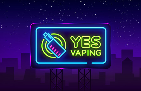 Yes Vaping neon sign. Zone Vaping neon sign vector template, light banner, bright night illustration, symbol, places for vape, electronic cigarette neon. Vector illustration. Billboard