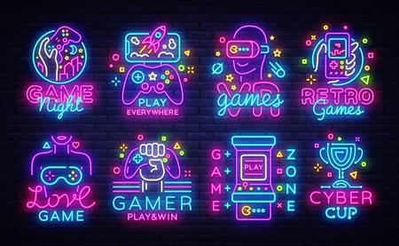 Grande collezione di videogiochi loghi insegne al neon concettuale di vettore. Modello di progettazione di emblemi di videogiochi, design di tendenza moderna, illustrazione vettoriale brillante, giochi promozionali, banner luminoso. Vettore