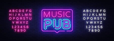 Music Pub neon sign vector. Live Music design template neon sign, light banner, neon signboard, nightly bright advertising, light inscription. Vector illustration. Editing text neon sign.