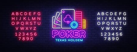 Poker neon sign design vector template. Casino Poker Texas Holdem Night Logo, Bright Neon Signboard, Design Element for Casino, Gambling Neon, Bright Night Advertising. Vector. Editing text neon sign.
