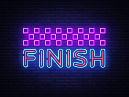 Finish neon sign vector. Finish Design template neon sign, light banner, neon signboard, nightly bright advertising, light inscription. Vector illustration. Illusztráció