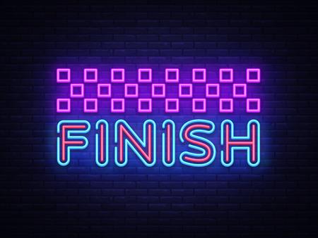 Finish neon sign vector. Finish Design template neon sign, light banner, neon signboard, nightly bright advertising, light inscription. Vector illustration. Illustration