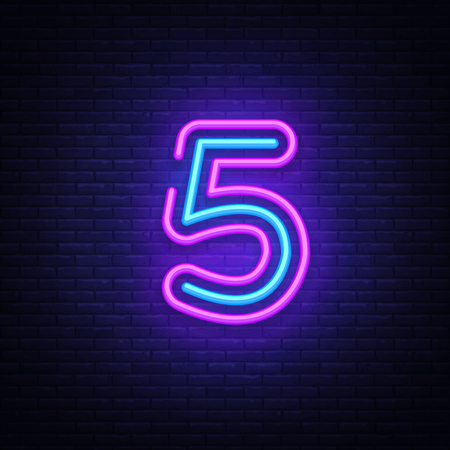 Number Five symbol neon sign vector. Number Five template neon icon, light banner, neon signboard, nightly bright advertising, light inscription. Vector illustration.