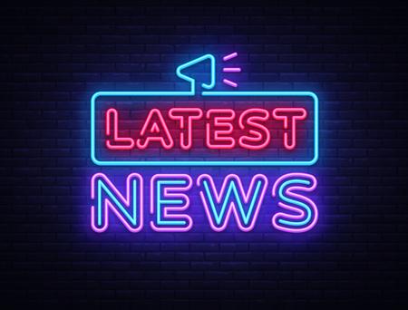 Latest News sign vector design template. Breaking News neon logo, light banner design element colorful modern design trend, night bright advertising, brightsign. Vector illustration.