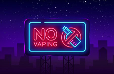 No Vaping neon sign vector template, light banner, bright night illustration, symbol vaping ban, no vaping, electronic cigarette neon. Vector illustration. Billboard.