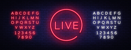 Live neon sign vector. Live Stream design template neon sign, light banner, neon signboard, nightly bright advertising, light inscription. Vector illustration. Editing text neon sign. 向量圖像