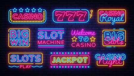Casino collectie Neon borden vector ontwerpsjabloon. Casino neon logo, licht banner ontwerpelement kleurrijke moderne designtrend, nacht heldere reclame, helder teken. Vector illustratie.