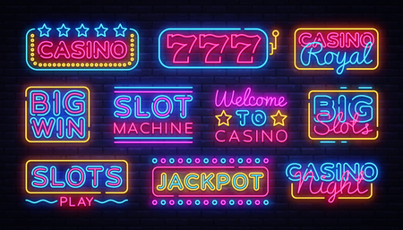 Casino collection Neon signs vector design template. Casino neon logo, light banner design element colorful modern design trend, night bright advertising, bright sign. Vector illustration. Çizim