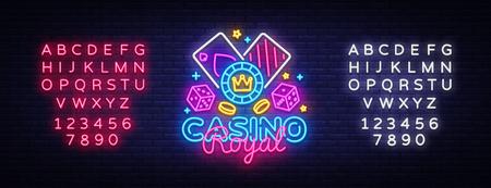 Casino Royal Neon Logo Vector. Casino neon sign, design template, modern trend design, casino neon signboard, night bright advertising, light banner, light art. Vector. Editing text neon sign.