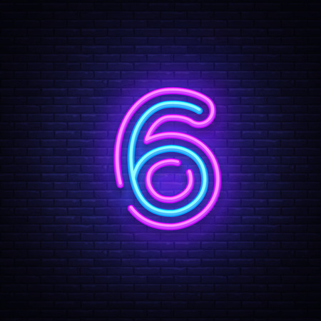 Number six symbol neon sign vector. Number six template neon icon, light banner, neon signboard, nightly bright advertising, light inscription. Vector illustration.