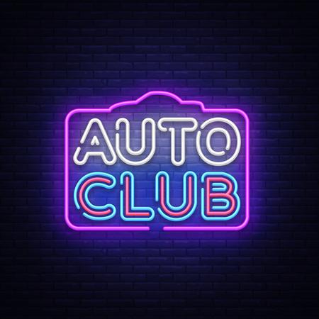 Auto Club neon sign vector. Car Service design template neon sign, light banner, neon signboard, nightly bright advertising, light inscription. Vector illustration Illustration