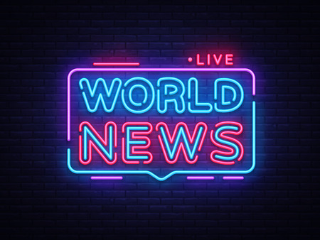 World News sign vector design template. Breaking News neon logo, light banner design element colorful modern design trend, night bright advertising, brightsign. Vector illustration.