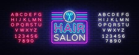 Hair Salon sign vector design template. Hairdress neon logo, light banner design element colorful modern design trend, night bright advertising, bright sign. Vector. Editing text neon sign