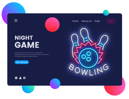 Bowling neon creative website template design. Vector illustration Bowling concept for website and mobile apps, business apps, marketing, neon banner. Night Games Ilustracja