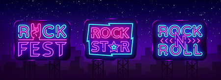 Colección de música rock Neon Logos Vector. Pub de rock, café, letreros de neón de estrella de rock, símbolos conceptuales, publicidad nocturna brillante, banner de luz, música en vivo, karaoke, letrero de neón. Vallas publicitarias vectoriales