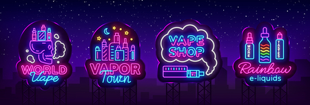 Vape shop neon sign collection vector. Vaping Store Logos set Emblem Neon, Its Vape Shop Concept Vapor Town, Rainbow E-liquids. Trendy designer elements for advertising. Vector Billboards