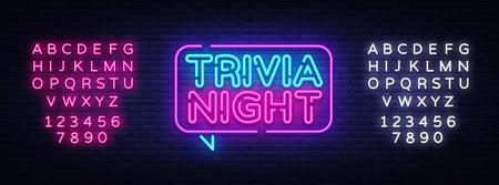 Trivia nacht aankondiging neon uithangbord vector. Lichtbanner, ontwerpelement, nacht-neon-advensing. Vector illustratie. Bewerken van tekst neon teken. Vector Illustratie