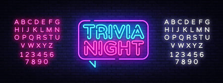 Trivia night announcement neon signboard vector. Light Banner, Design element, Night Neon Advensing. Vector illustration. Editing text neon sign. Vettoriali