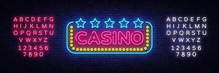 Casino Neon sign vector design template. Casino neon logo, light banner design element colorful modern design trend, night bright advertising, bright sign. Vector illustration. Editing text neon sign