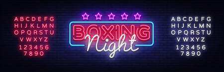 Boxing Night Neon sign vector design template. Boxing neon logo, light banner design element colorful modern design trend, night bright advertising, bright sign. Vector. Editing text neon sign
