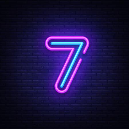 Vector de señal de neón de símbolo número siete. Séptimo, icono de neón de plantilla número siete, banner de luz, letrero de neón, publicidad luminosa todas las noches, inscripción de luz. Ilustración vectorial. Ilustración de vector
