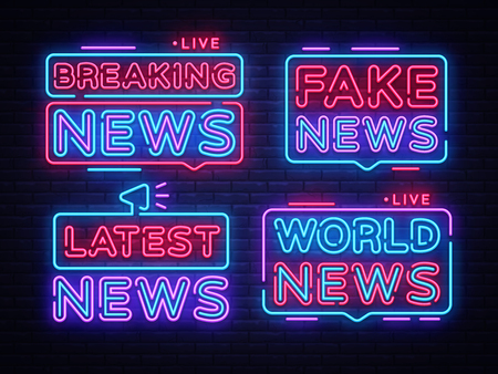 Breaking News collection sign vector design template. Breaking News neon logo, light banner design element colorful modern design trend, night bright advertising, brightsign. Vector illustration. Illustration