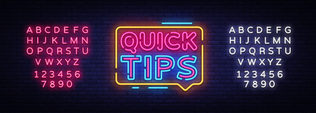 Quick Tips neon signs vector. Quick Tips Design template neon sign, light banner, neon signboard, nightly bright advertising, light inscription. Vector illustration. Editing text neon sign.