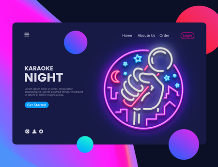 Karaoke Neon Horizontal Web Banner Vector. Live Music Advertising banner web interface in modern trend design, neon style, bright night advertising, design template. Vector illustration. Banque d'images - 115010194