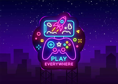 Gamepad and Smartphone neon sign vector. Games for Smartphone Logotype, Emblem in Modern Trend Design, Vector Template, Light Banner, Night Vivid Video Game Promotion, Design Element. Vector Billboard Çizim