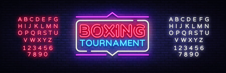 Boxing Tournament neon sign vector. Boxing Design template neon sign, light banner, neon signboard, nightly bright advertising, light inscription. Vector illustration. Editing text neon sign 일러스트