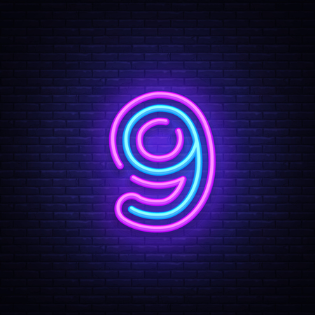 Number nine symbol neon sign vector. Ninth, Number nine template neon icon, light banner, neon signboard, nightly bright advertising, light inscription. Vector illustration.