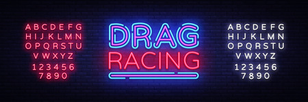 Drag Racing neon sign vector. Racing design template neon sign, light banner, neon signboard, nightly bright advertising, light inscription. Vector illustration. Editing text neon sign 일러스트