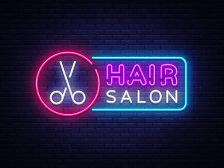 Hair Salon neon sign vector. Hairdress Design template neon sign, light banner, neon signboard, nightly bright advertising, light inscription. Vector illustration
