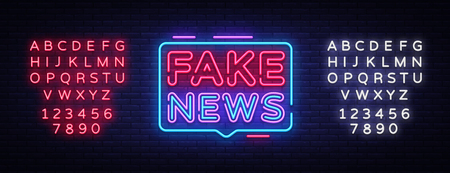 Fake News neon sign vector. Breaking News Design template neon sign, light banner, neon signboard, nightly bright advertising, light inscription. Vector illustration. Editing text neon sign. 스톡 콘텐츠 - 114992846