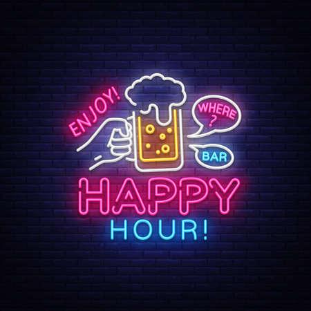 Happy Hour Leuchtreklame Vektor. Happy Hour Design Vorlage Neonschild, Nachtessen, Feierlichtbanner, Neonschild, nächtliche helle Werbung, Lichtinschrift. Vektor-Illustration Vektorgrafik