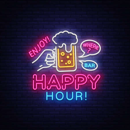 Happy Hour neon sign vector. Happy Hour Design template neon sign, Night Dinner, celebration light banner, neon signboard, nightly bright advertising, light inscription. Vector illustration Vettoriali