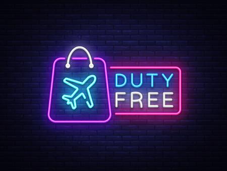 Duty Free neon sign vector. Duty Free design template neon sign, light banner, neon signboard, nightly bright advertising, light inscription. Vector illustration. Vettoriali