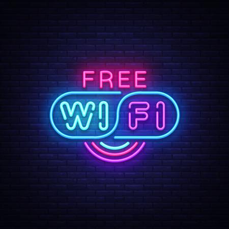 Wifi neon sign vector. Wifi text Design template neon sign, light banner, neon signboard, nightly bright advertising, light inscription. Vector illustration Illustration