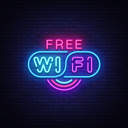 Vector de señal de neón wifi. Señal de neón de plantilla de diseño de texto Wifi, banner de luz, letrero de neón, publicidad luminosa nocturna, inscripción de luz Ilustración vectorial