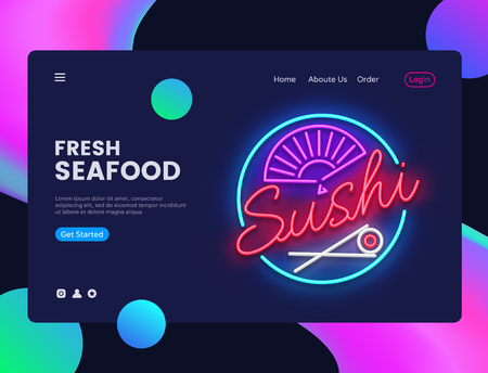Sushi banner design template vector. Seafood web banner interface, Neon sign, modern trend design, neon style web banner, bright neon advertising. Vector illustration Illustration