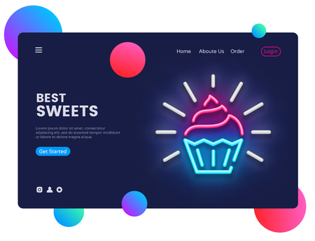 Sweets Shop design template vector. Candy Shop web banner interface, Neon sign, modern trend design, neon style web banner, bright neon advertising. Vector illustration