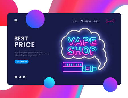 Vape Shop design template vector. Vaping web banner interface, Neon sign, modern trend design, neon style web banner, bright neon advertising. Vector illustration Illustration