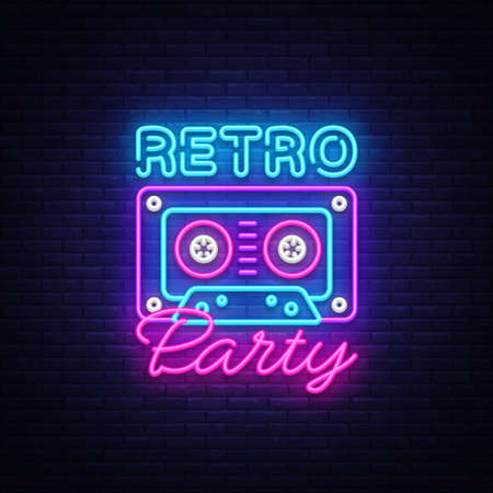 Retro Party neon poster, card or invitation, design template. Retro tape recorder cassettes neon sign, light banner. Back to the 90s. Vector illustration in trendy 80s-90s neon style.