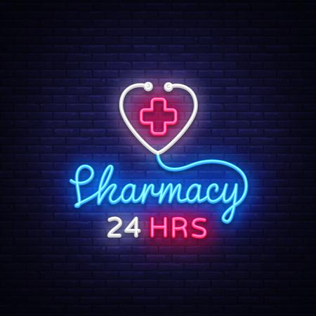 Pharmacy neon sign vector. Pharmacy 24 hours Design template neon sign, light banner, neon signboard, nightly bright advertising, light inscription. Vector Illustration. 스톡 콘텐츠 - 104628208