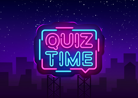 Quiz Time announcement poster neon signboard vector. Pub Quiz vintage styled neon glowing letters shining, Light Banner, Questions team game.Vector illustration. Billboard.