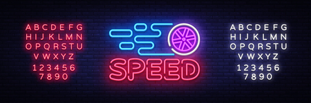 Speed Night Neon Logo Vector. Racing neon sign, design template, modern trend design, sports neon signboard, night bright advertising, light banner, light art. Vector. Editing text neon sign. Illustration