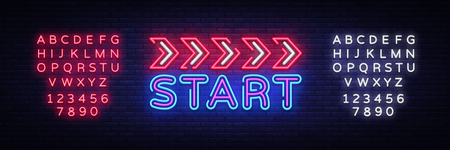 Start Neon sign vector design template. Start Race neon text, light banner design element colorful modern design trend, night bright advertising, bright sign. Vector. Editing text neon sign. Illustration