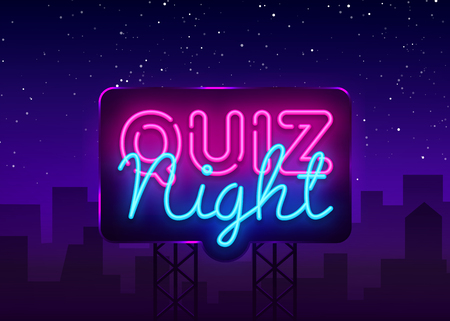 Quiz night announcement poster vector design template. Quiz night neon signboard, light banner. Pub quiz held in pub or bar, night club. Questions game bright retro light sign. Vector Billboard. Ilustracja